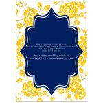 Great blue, gold and white wedding invitation with rose or peony flowers