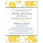Navy blue, white, and yellow roses or peony floral wedding accommodations enclosure insert card.