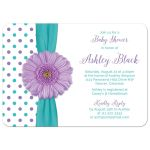 Cute turquoise and white polka dot, purple gerbera daisy baby shower invitation