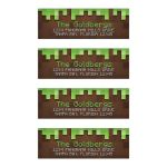 3D cube pixelated building block video game brown and green Bar Mitzvah personalized address labels