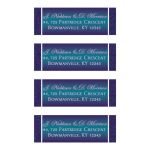 Personalized purple, teal, and silver gray faux embossed floral wedding return address mailing labels.
