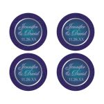 purple, teal, and silver gray faux embossed floral wedding favor sticker or envelope seal