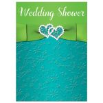 ​Turquoise blue, lime green and white wedding, bridal, or couple's shower invitations with ribbon, bow, and joined jewel and glitter double hearts brooch.