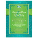 ​Turquoise blue, lime green and white wedding, bridal, or couple's shower invites with ribbon, bow, and joined jewel and glitter double hearts brooch.
