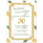 Pineapple and gold glitter birthday party invitation