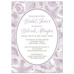 Bridal Shower Invitations - Beach Purple Seashell Whitewashed Wood