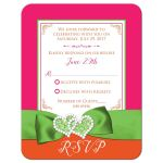 Fuchsia pink, lime green and white wedding RSVP enclosure card with ribbon, glitter and a pair of jeweled double joined hearts buckle brooch on it.