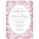 Bridal Shower Invitations - Pretty Pink Beach White Seashell