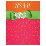 Fuchsia pink, lime green and white wedding RSVP enclosure cards with ribbon, glitter and a pair of jewelled double joined hearts buckle brooch on it.