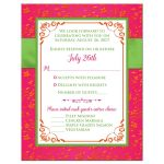 Fuchsia pink, lime green and white wedding response cards with ribbon, glitter and a pair of jewelled double joined hearts buckle brooch on it.
