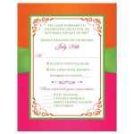 Fuchsia pink, lime green and white wedding RSVP cards with ribbon, glitter and a pair of jewelled double joined hearts buckle brooch on it.