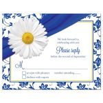 White shasta daisy and royal blue floral damask and ribbon wedding RSVP card front