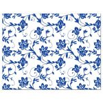 White shasta daisy and royal blue floral damask and ribbon wedding RSVP card back