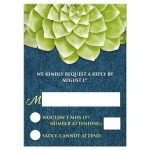 RSVP Reply Cards - Succulent Green and Blue Denim