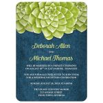 Reception Only Invitations - Succulent Green and Blue Denim