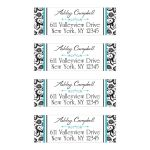 Custom black and white floral damask pattern return address labels are accented with turquoise blue stripes and a decorative scroll ornament flourish.
