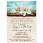 Honeymoon Shower Invitations - Beach Lily Seashells and Sand