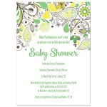 Yellow and Green Paisley Floral Baby Shower Invitation