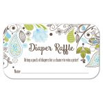 Blue and Green Paisley Boy Baby Shower Diaper Raffle Cards