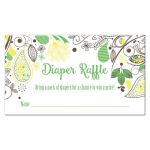 Yellow and Green Paisley Baby Shower Diaper Raffle Cards