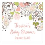 Pink and Green Floral Paisley Baby Shower Favor Gift Tags