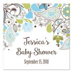 Blue and Green Paisley Boy Baby Shower Favor Gift Tags