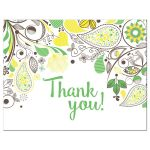 Yellow and Green Paisley Thank You Postcards