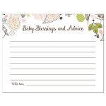 Pink and Green Paisley Baby Shower Advice Cards