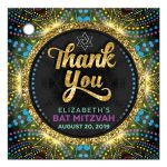 Groovy Stars Blacklight Bat Mitzvah Favor Tags Thank You