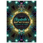 Groovy Stars Blacklight Bat Mitzvah Invitation