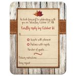 Autumn wedding rsvp enclosure cards with fall leaves, burlap, wood grain, cardboard heart and orange bow.