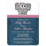Baby Shower Invitations - Cute Elephant Pink Rustic Blue Denim