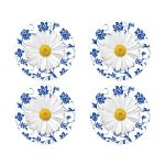 White shasta daisy and royal blue floral damask wedding stickers or envelope seals