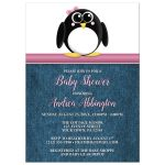 Baby Shower Invitations - Cute Penguin Pink Rustic Blue Denim