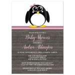 Baby Shower Invitations - Cute Penguin Pink Rustic Brown Wood
