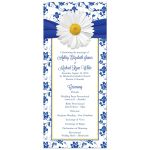 White daisy and royal blue floral damask and ribbon wedding program front