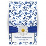 White daisy and royal blue floral damask and ribbon folded wedding thank you card