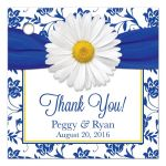 Personalized white daisy royal blue damask floral wedding favor tags front