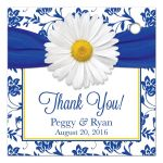 Personalized white daisy royal blue damask floral wedding favor tags back