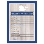 Rustic White Whale with Navy Blue Wishes for Baby Advice Card Boy Baby Shower