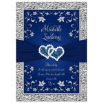 Affordable blue and silver grey floral wedding invite with joined hearts and ribbon