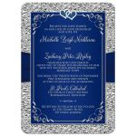 Navy blue and silver gray floral wedding invitation with ribbon and jewel joined hearts