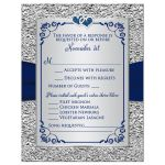 Elegant navy blue and silver grey floral wedding rsvp card with joined jewel hearts and ribbon