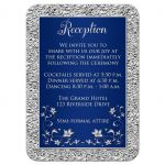 Affordable navy blue and silver floral wedding reception cards
