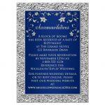 Elegant navy blue and silver floral faux foil wedding enclosure cards