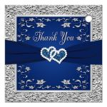 Navy blue and silver gray wedding favor thank you tag with double joined jewel hearts, ribbon and grey flowers.