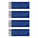 Personalized navy blue and silver gray faux silver foil return address labels.