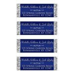 Customizable navy blue and silver grey faux silver foil address labels with decorative scroll.