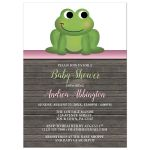 Baby Shower Invitations - Cute Frog Green Pink Rustic Wood