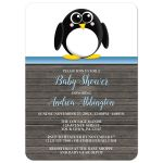 Baby Shower Invitations - Cute Penguin Blue Rustic Brown Wood